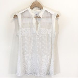 Cabi Lace Floral Sleeveless Blouse Small White